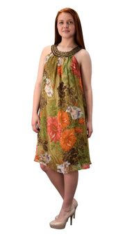 Bohemian Free-Flowing Floral Tunic Vacation Summer Frock Swing Dress
