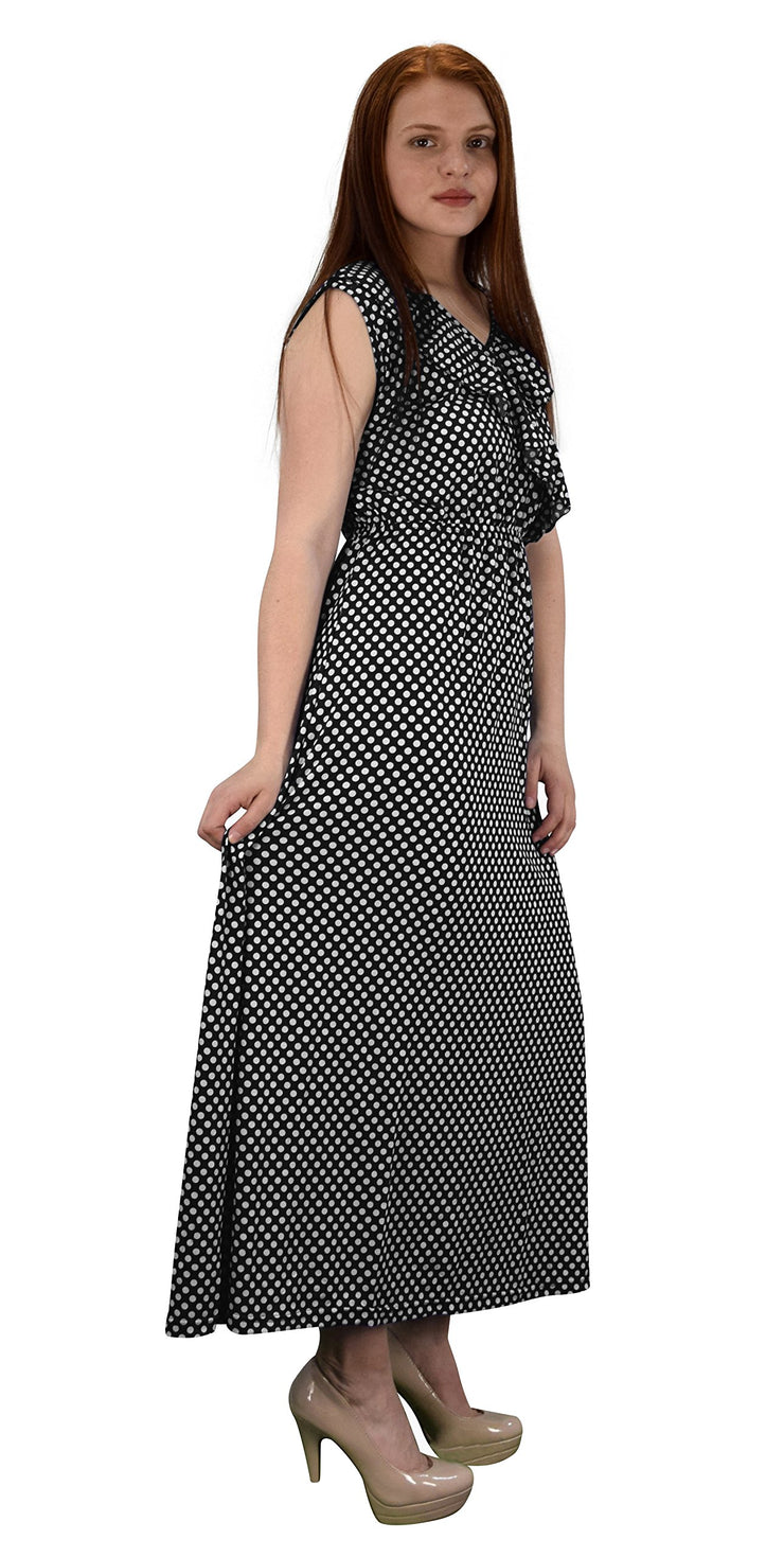 Polka Dot Sleeveless Ruffle Neck Maxi Dress White, Black XL