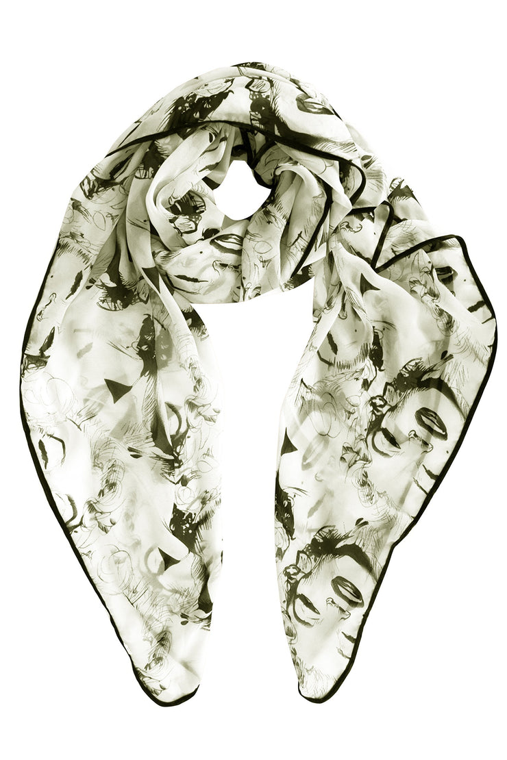 Ivory Vintage Chiffon Feel Marilyn Monroe Design Scarf/wrap w/Silk Black Border