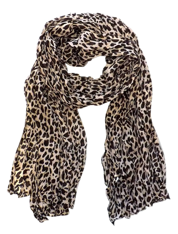 Cream Peach Couture Trendy Women's Leopard Animal Print Crinkle Scarf wrap