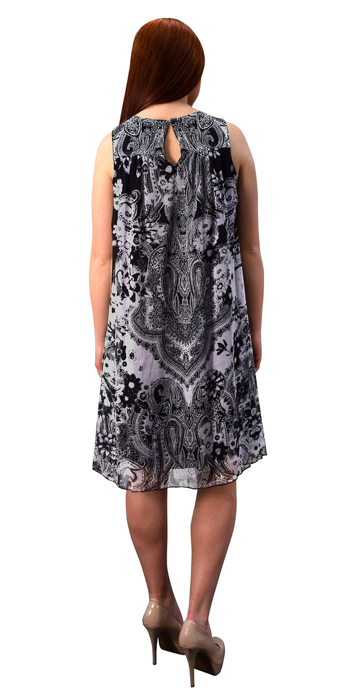 Women's Embellished Boho Neckline Tunic Frock Halter Swing Dress
