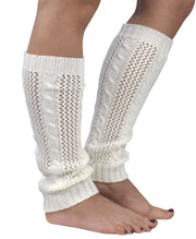 Womens Knitted Crochet Ribbed Cable Knit Long Leg Warmers