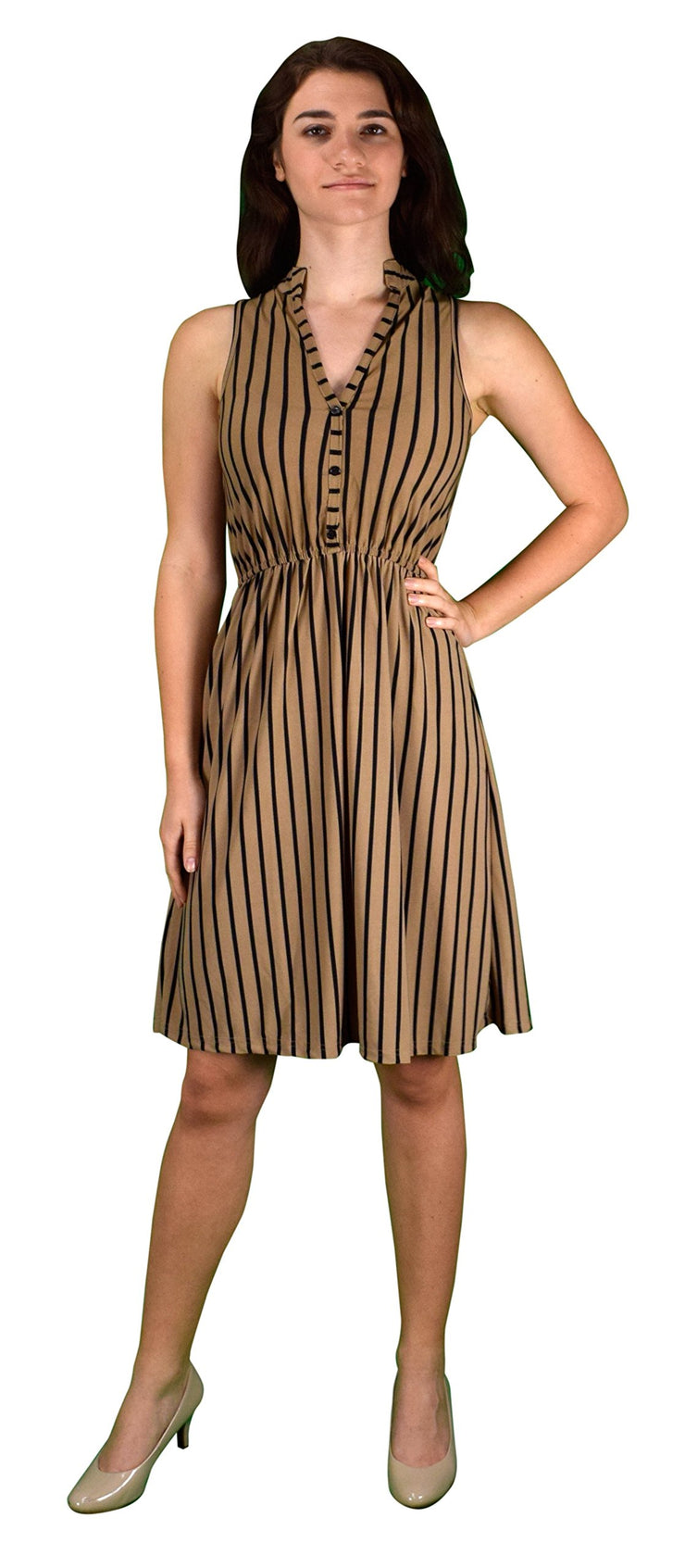 Peach Couture Womens Vintage Pinstripe Button Up Elastic Waist Shift Dress