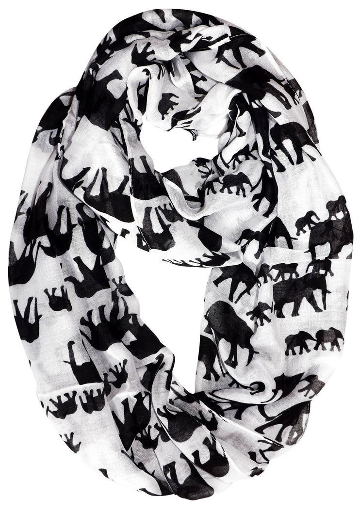 White/Black Peach Couture Trendy Lightweight Animal Print Artsy Elephant Wrap Scarf Shawl