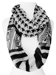 Light Tribal and Striped Houndstooth Sheer Infinity Loop Scarf