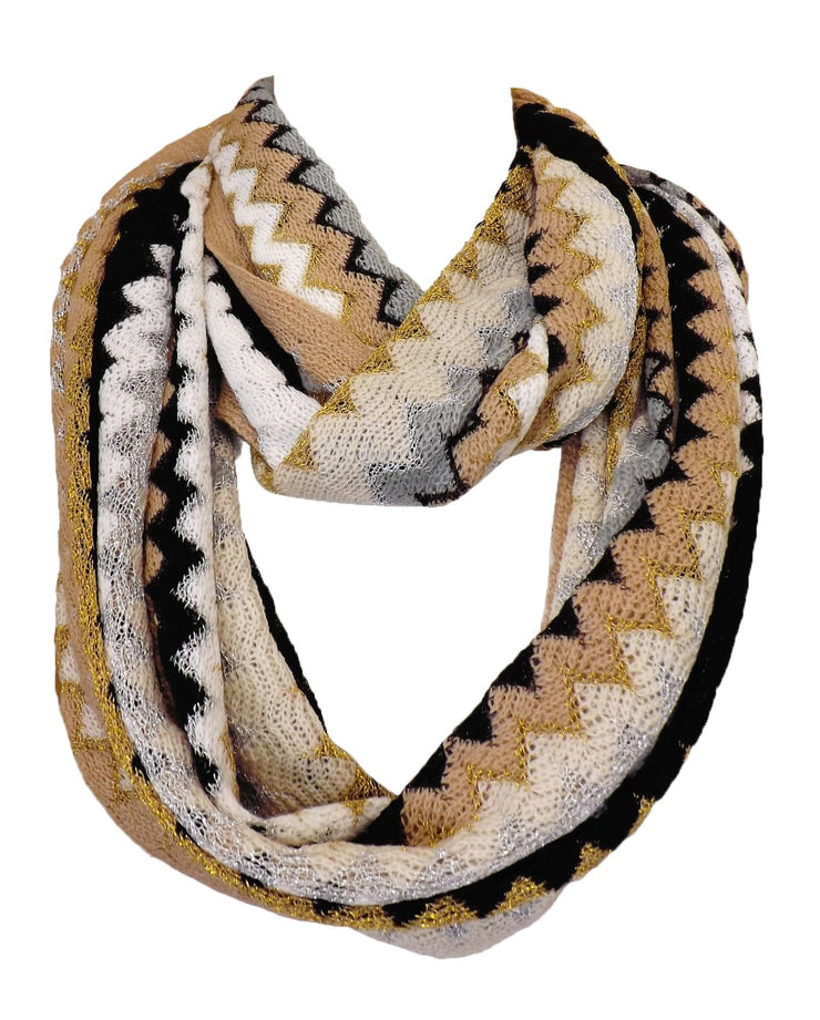 Knitted Chevron Women's, Teens, Girls Infinity Loop Scarf in Multiple Colors