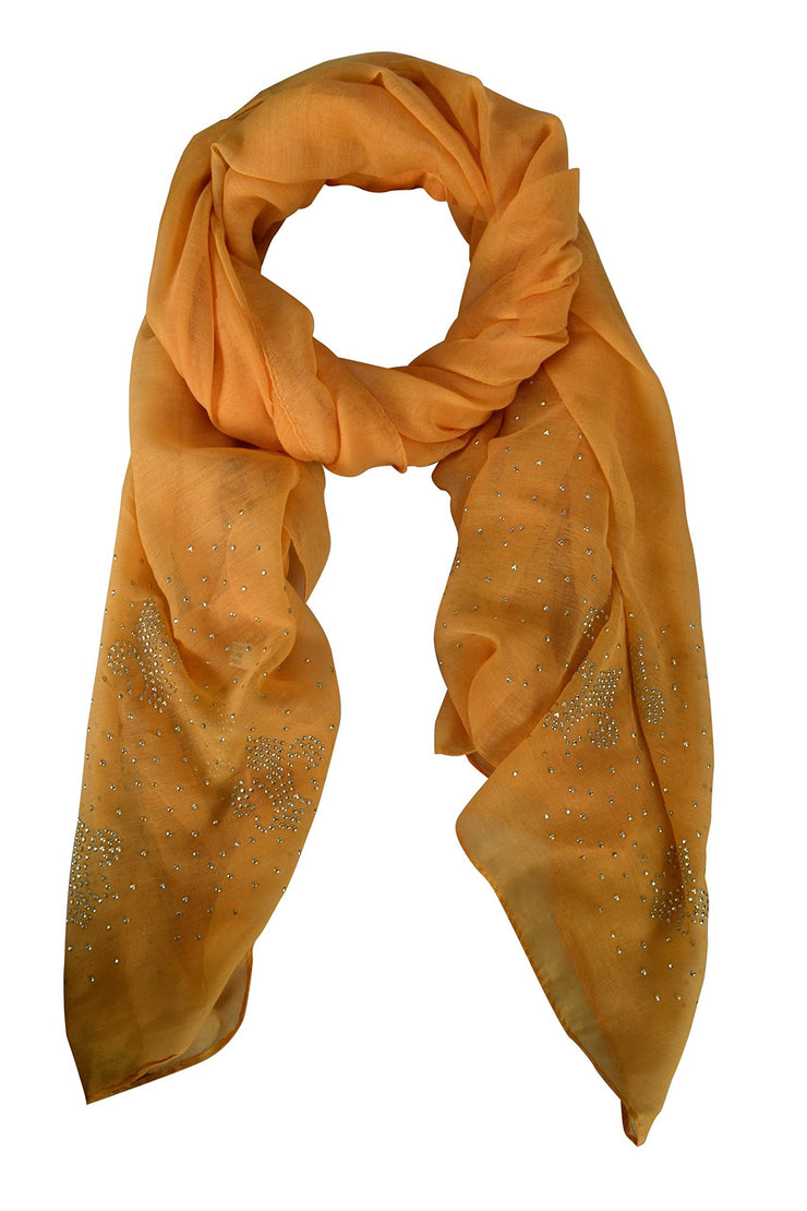 Mustard Peach Couture Classic Glittering Sparkle Studded Scarf Shawl Wrap
