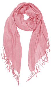 Peach Couture Beautiful Princess Shimmer Sparkle Lightweight Sheer Fringe Scarf
