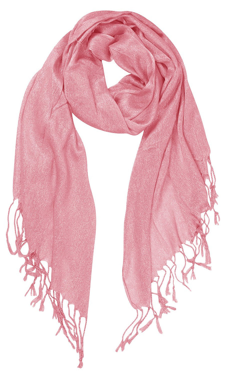 Beautiful Princess Shimmer Sparkle Lightweight Sheer Fringe Scarf