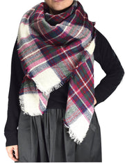 Cozy Plaid Patterned Oversized Fall or Winter Blanket Scarf Wrap