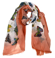 Peach Couture Light Weight Sheer Over Sized Floral Scarf Sarong Beach Wrap