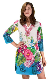 Summer Womens Boho Cotton Floral Embroidered Cover-up Beachwear Tunic Fuchsia Sequin L XL