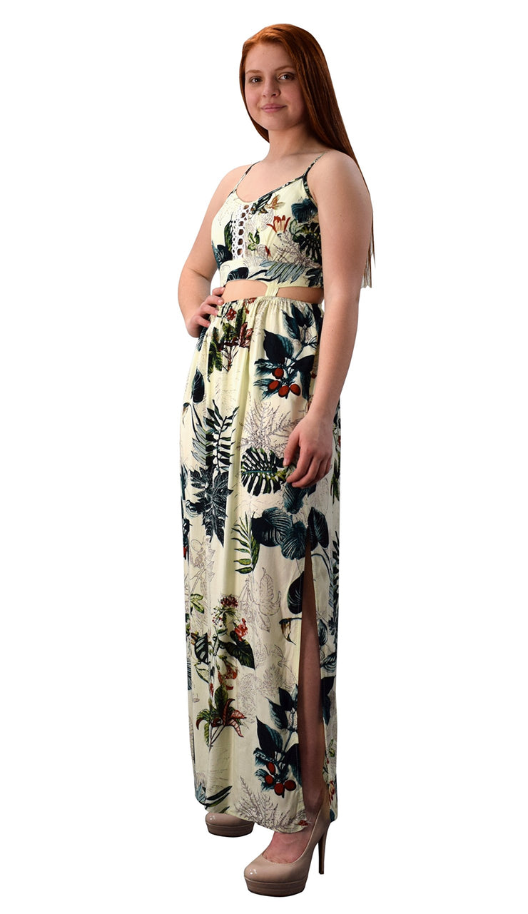 Floral Print Cut Out Waist Spaghetti Strap Side Slit Maxi Dress