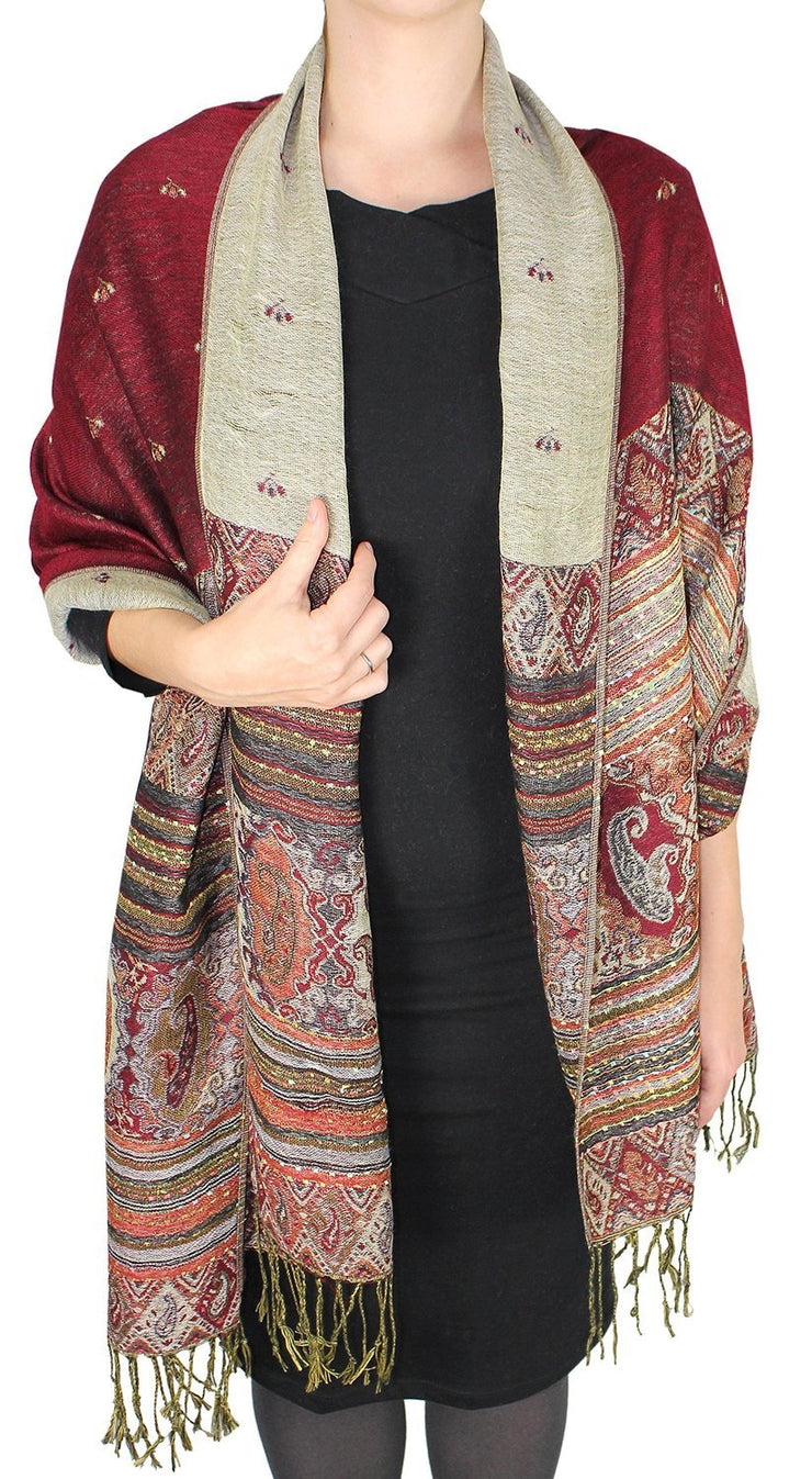 Ethnic Design Tribal Border Reversible Bohemian Pashmina Shawl Scarf Stole Wrap