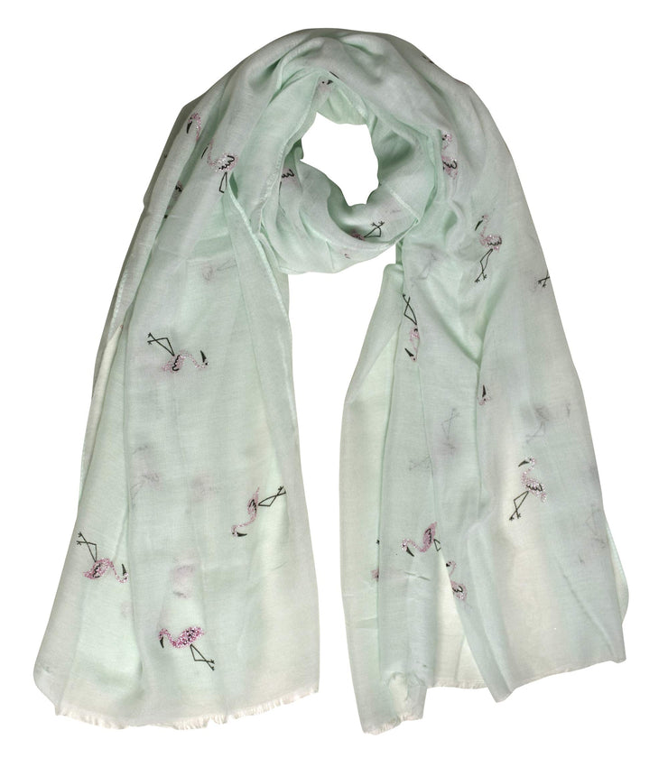 B8729-Flamingo-Scarf-Shawl-Mint-OS