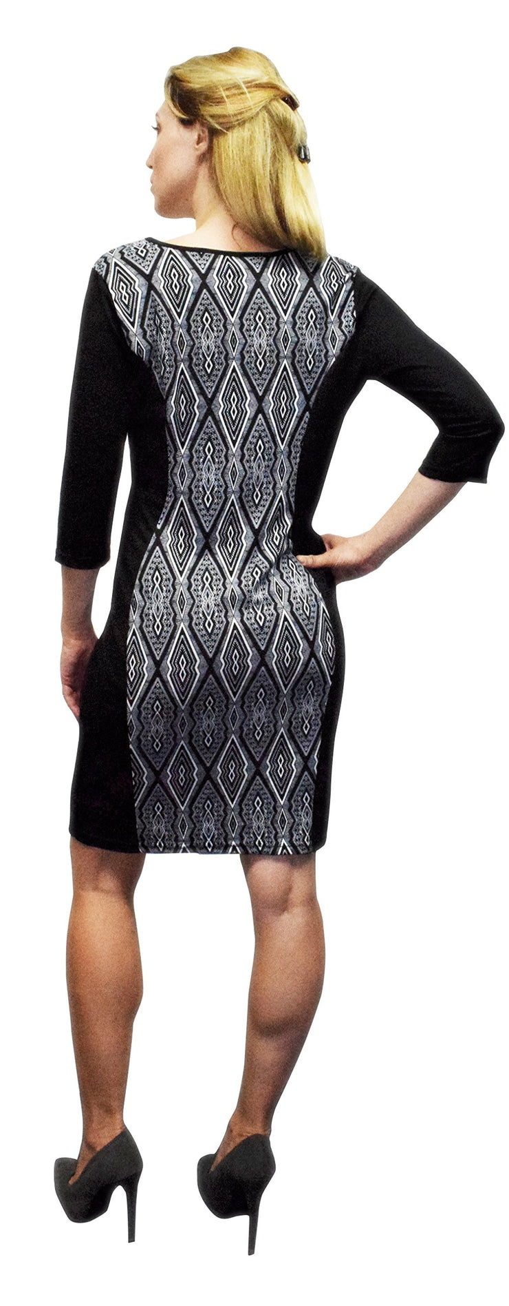 Peach Couture 3/4 Sleeves Chic Printed Work Business Party Sheath Slimming Dress
