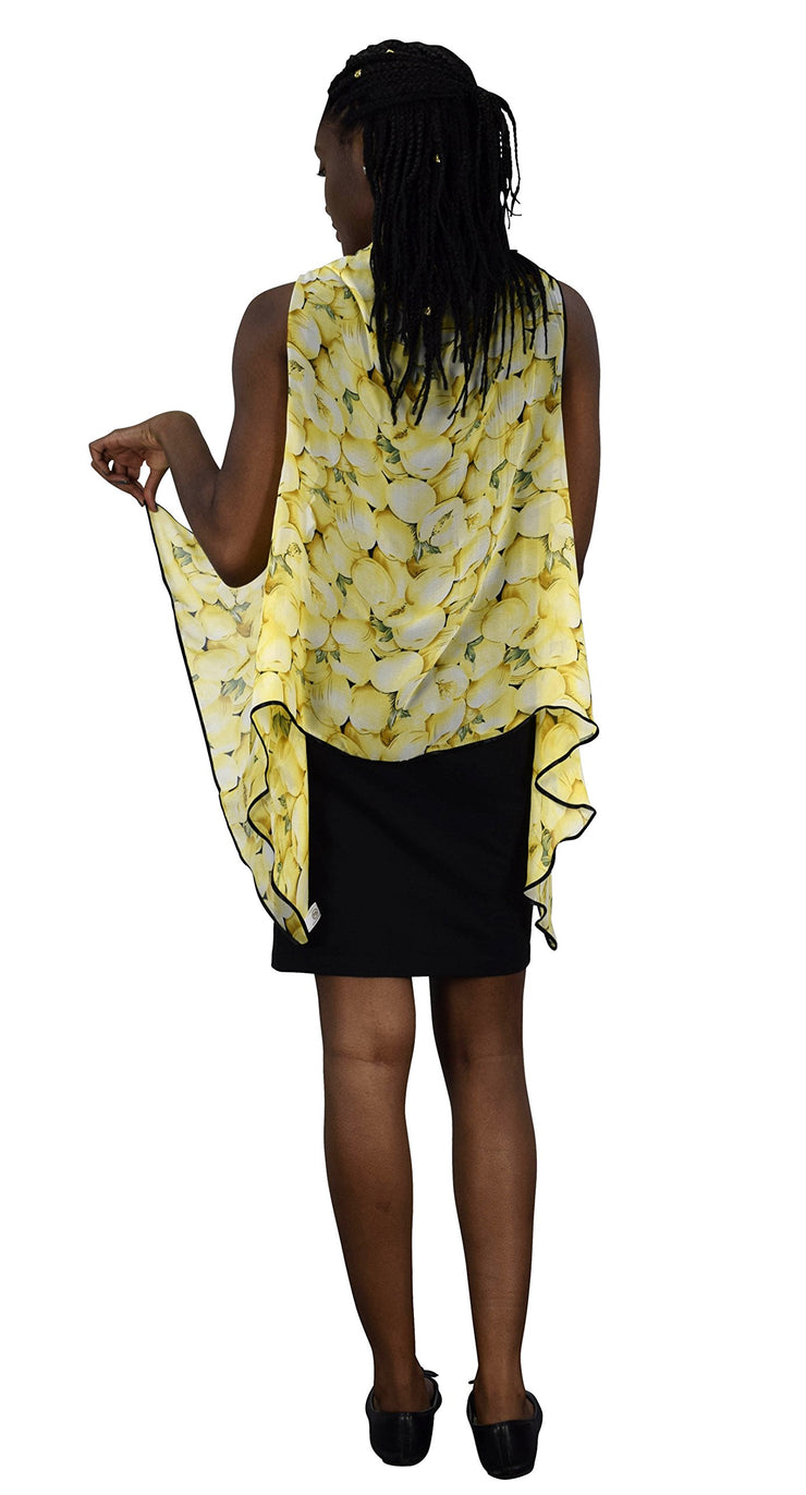 Burnout Fabric Light Weight Sheer Poncho Cover Up