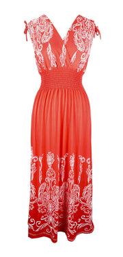 Peach Couture Womens Floral Damask Boho Sleeveless Cocktail Maxi Long Dress