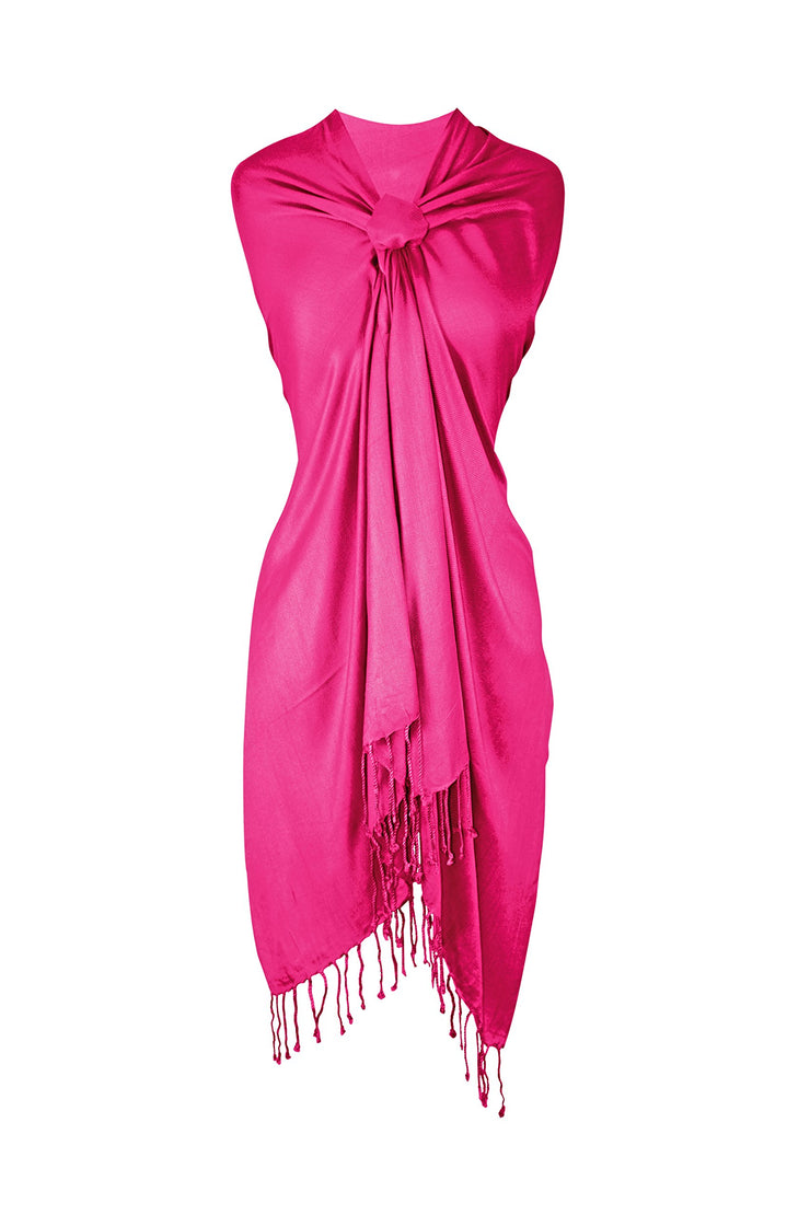 Peach Couture Soft Silky Rayon Pashmina Shawl Wrap Scarf in Solid Color