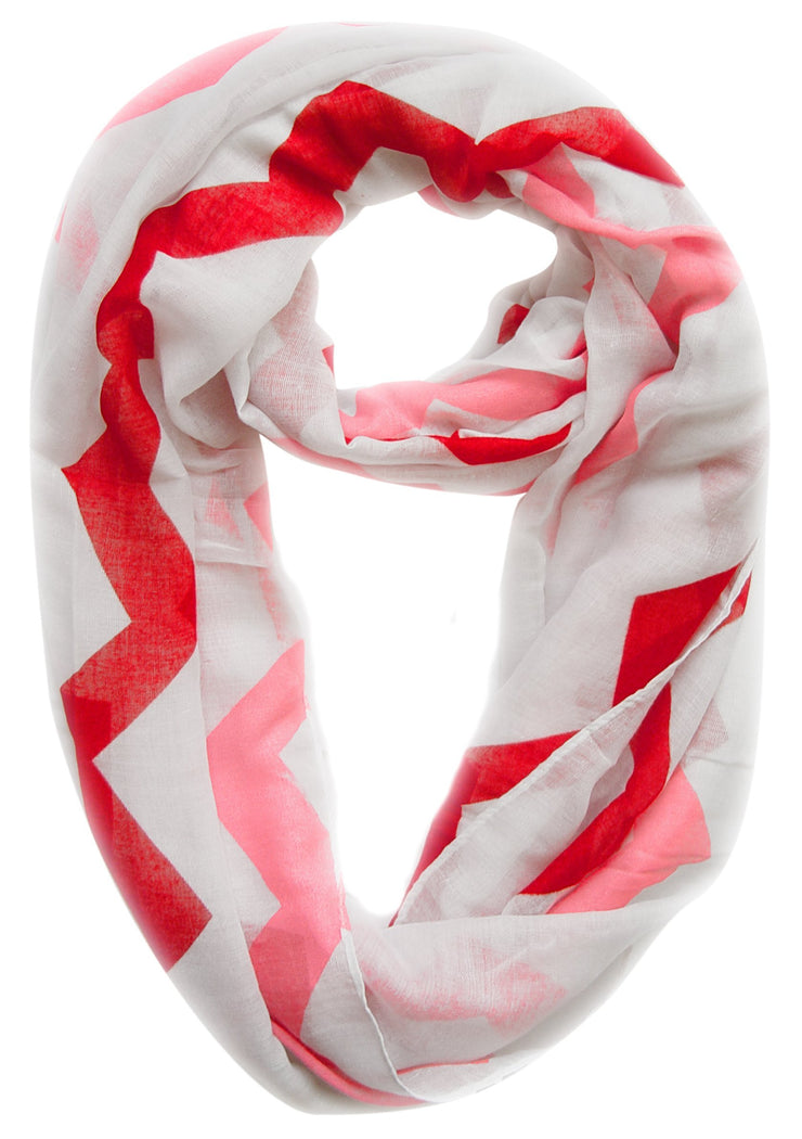 Pink/Red Peach Couture Modern Radiant Multicolored Chevron Geometric Infinity Loop Scarf