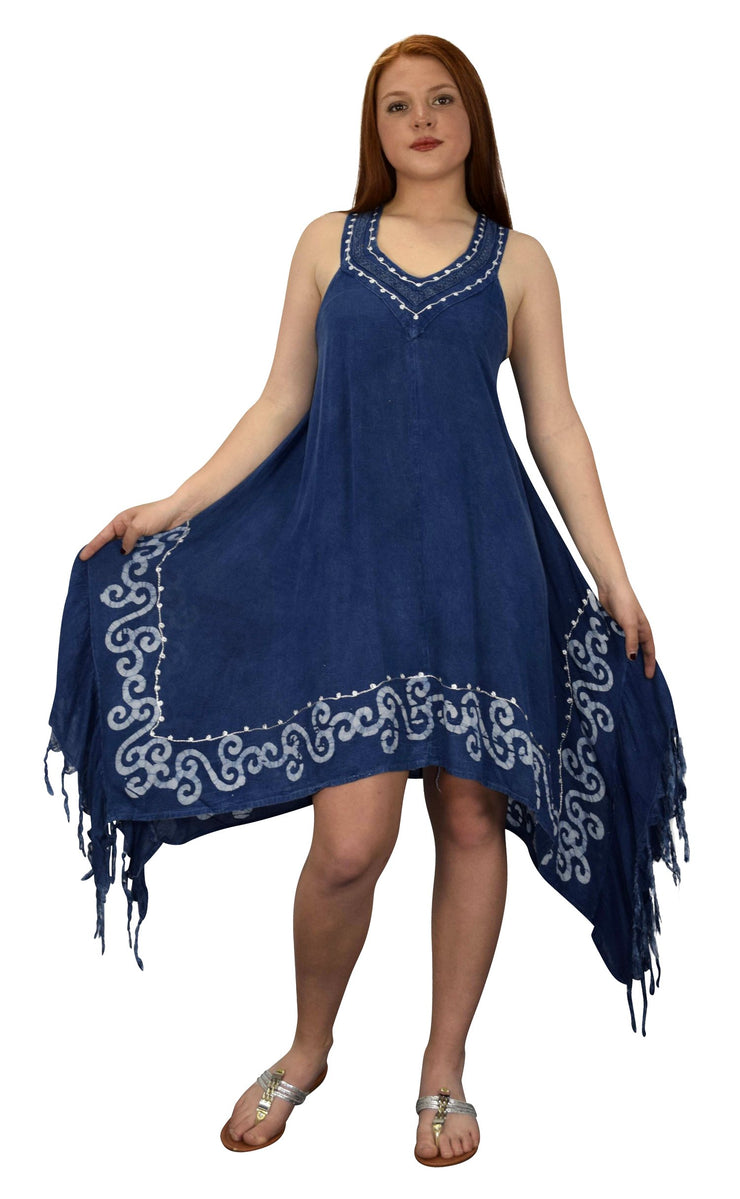 Womens Denim Asymmetric Hem Caftan Tank Dress Tunic Cover Up