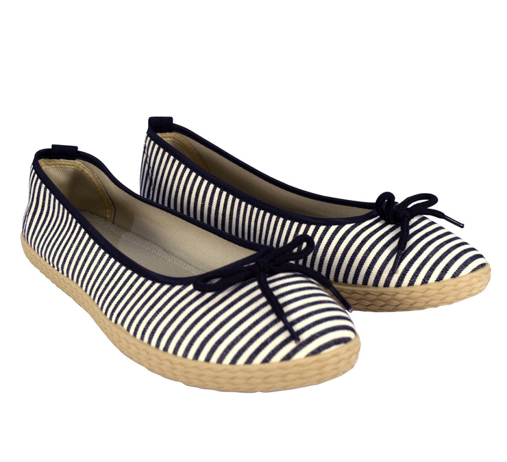 Womens Casual Striped Slip On Flat Espadrilles Bow Ballet Flats Shoes