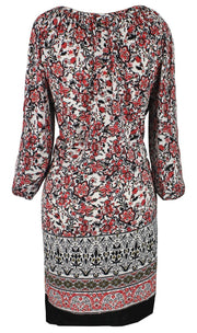 Tribal Vintage Boho Neck Tie Floral Print Summer Shift Dress