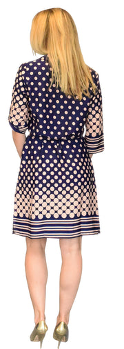 Womens Multi Pattern V Neck Shift ¾ Sleeve Waist Tie Shift Dress Medium Navy Polka Dot