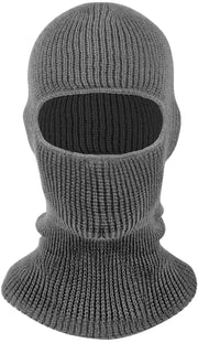 Peach Couture Unisex Thick Knit One Hole Facemask Balaclava Snowboarding Mask Grey