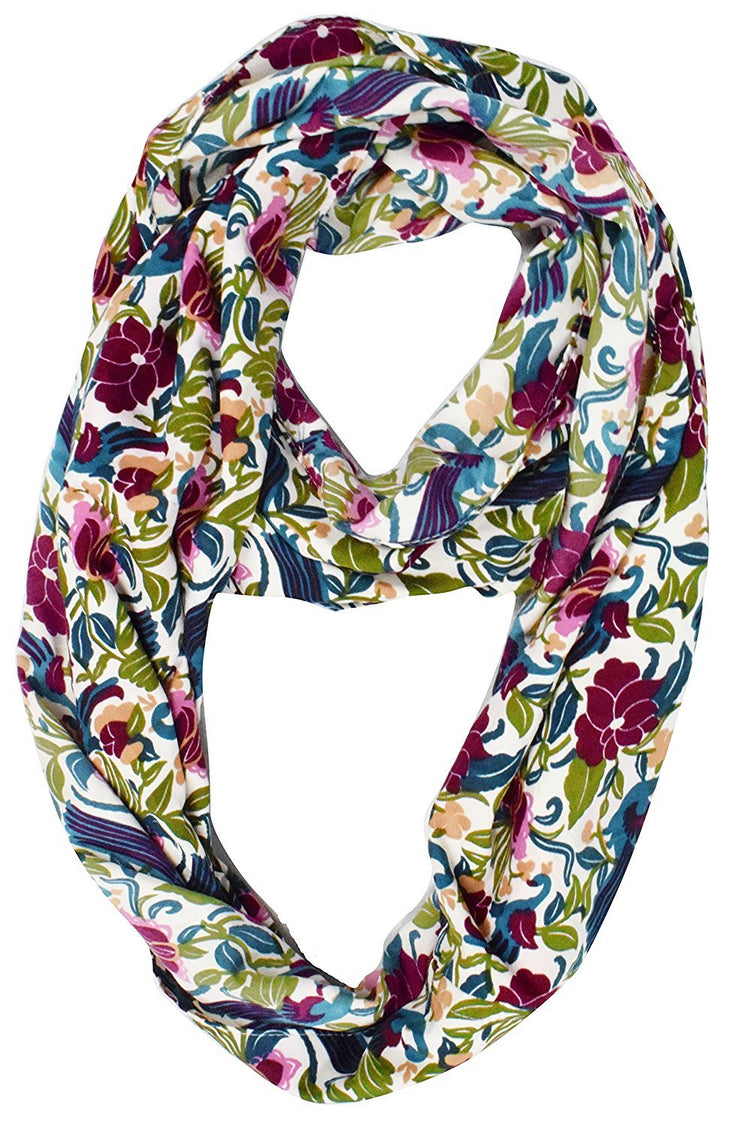 Sheer Bird Print Scarves For Women Infinity Scarf Circle Loops (White Maroon)