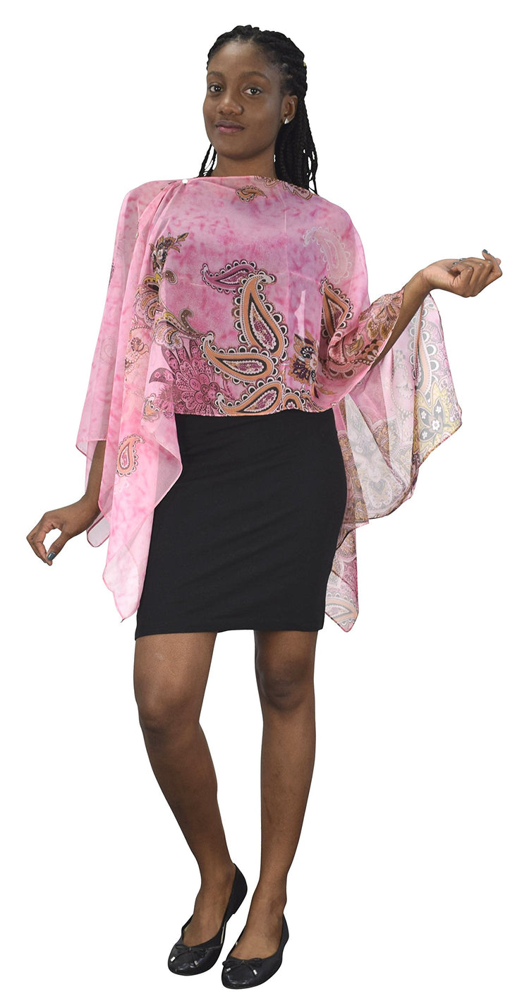 Womens Light Weight Sheer Poncho Shawl Convertible Sun Scarf