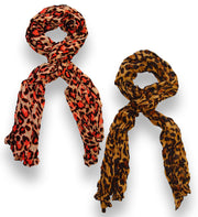 Peach Couture Trendy Women's Leopard Animal Print Crinkle Scarf wrap