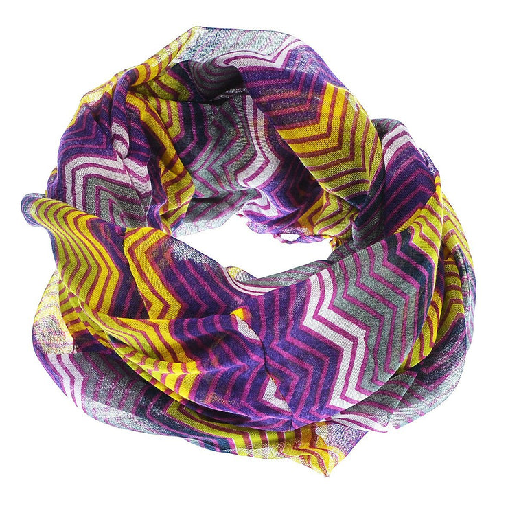 Purple/Yellow Peach Couture Modern Radiant Multicolored Chevron Geometric Infinity Loop Scarf