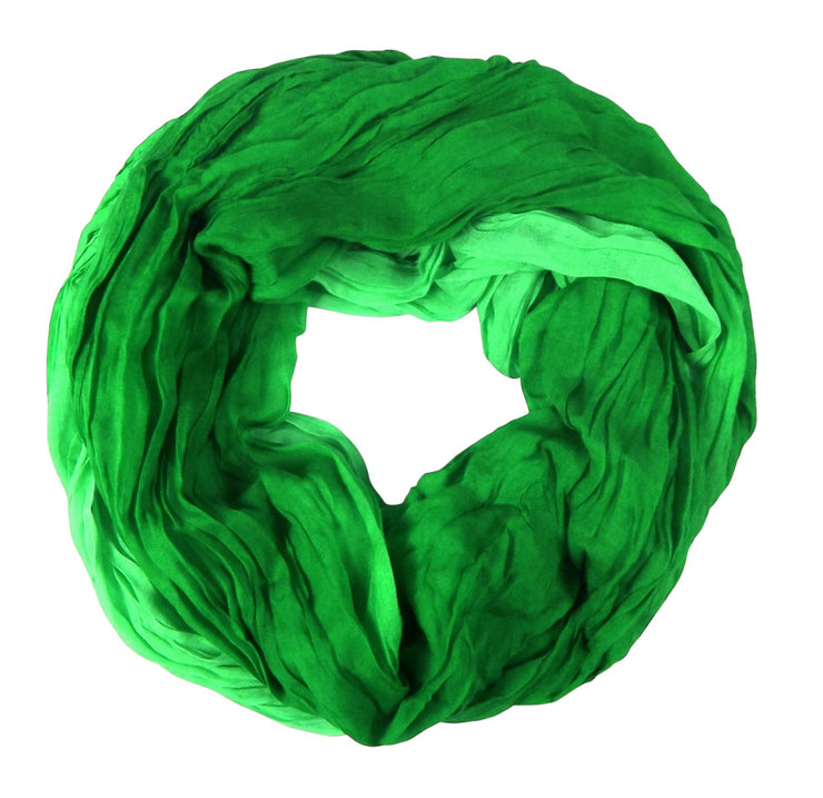 Ombre Green Peach Couture Fashion Lightweight Crinkled Infinity Loop Scarf Neon Faded Ombre