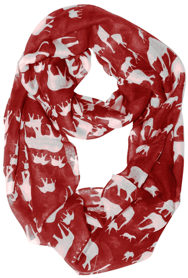 Red/White Peach Couture Trendy Lightweight Animal Print Artsy Elephant Wrap Scarf Shawl