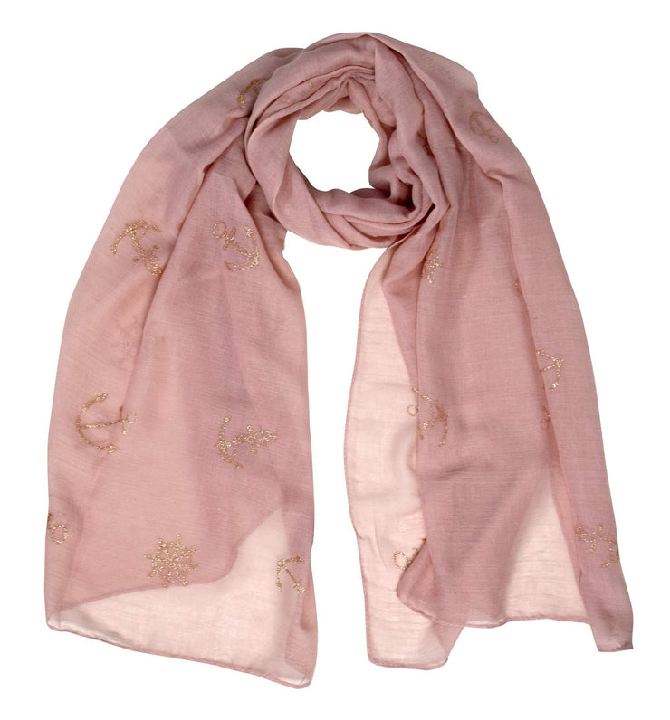 Pink Nautical Anchor Patriotic All American Navy Scarf Wrap Shawl