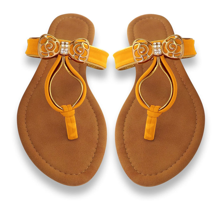 Artistic Gold Pleated Gem Embellished Summer Thong Sandals
