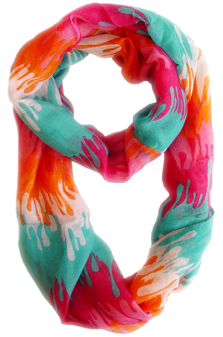 Pink Orange Peach Couture Trendy Abstract Multicolored Paint Design Infinity Loop Scarf/wrap
