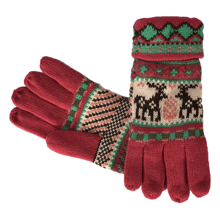 Fair Isle Reindeer Snowflake Plush Fleece Lined Double Layer Winter Gloves