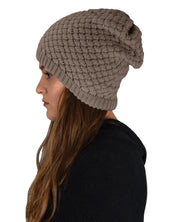 Grey Thick Crochet Knit Double Layer Beanie Slouchy Hat