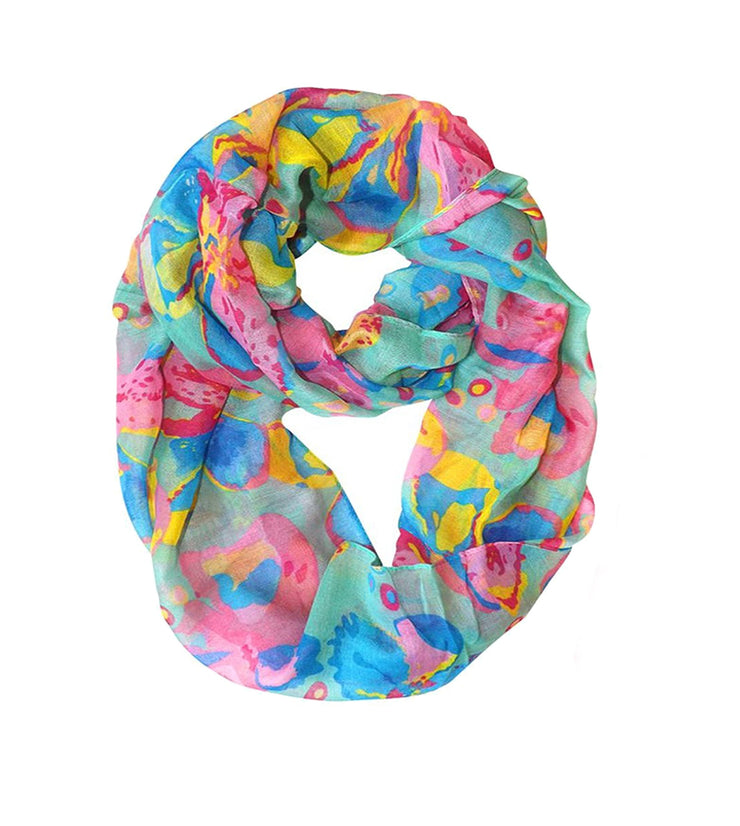 Peach Couture Paint The Town Red Cherry Blossom Floral Print Infinity loop Scarves