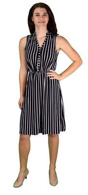 Vintage Pinstripe Button Up Sleeveless Shift Dress Black Small