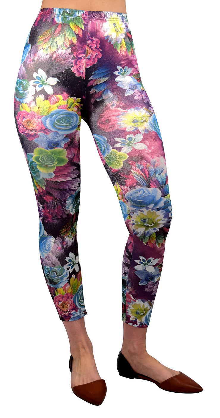 Women Stretch Sparkly Floral Design Vintage Leggings Tight Pants