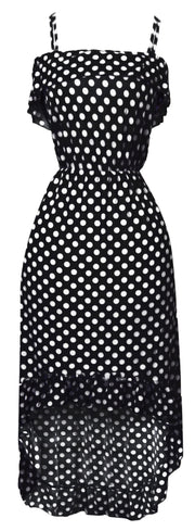 A1292-PolkaDot-Maxi-Dress-Blk-Whit-XL-SM
