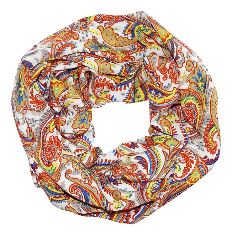 Orange Peach Couture Colorful Victorian Damask Lightweight Infinity Loop Scarf
