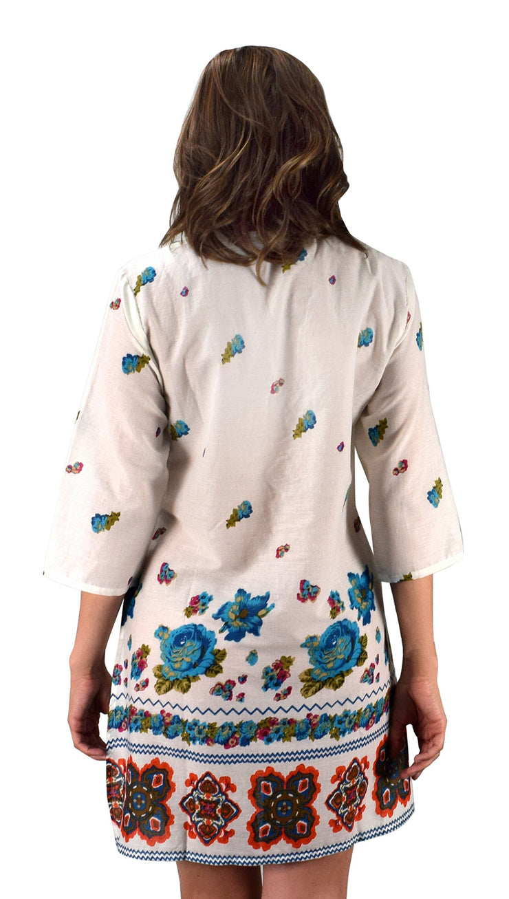 Cotton Floral Embroidered Vintage Petite Tunic Coverup Beachwear