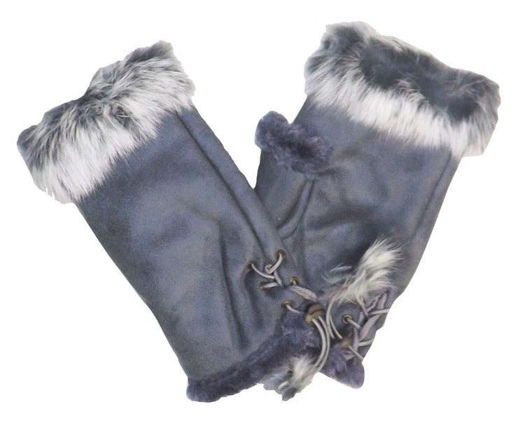 Peach Couture Luxurious Faux Fur Suede Feel Warm Winter Finger-less Gloves Pack