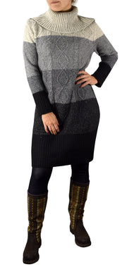 Ombre Cable Knit Cowl Neck Sweater Dress
