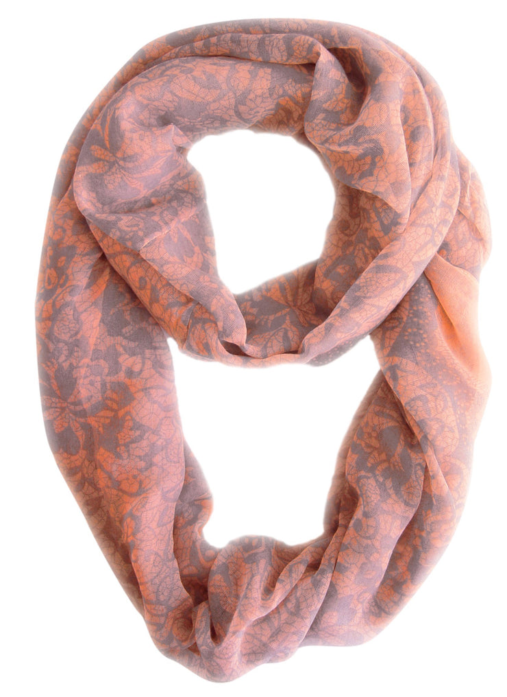 Pink/Grey Beautiful Tropical Hawaiian Hibiscus Flower & Lace Design Infinity Loop Scarf