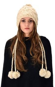 Trendy Knit Solid Colored Trapper Hat with Long Fringe Pom Poms